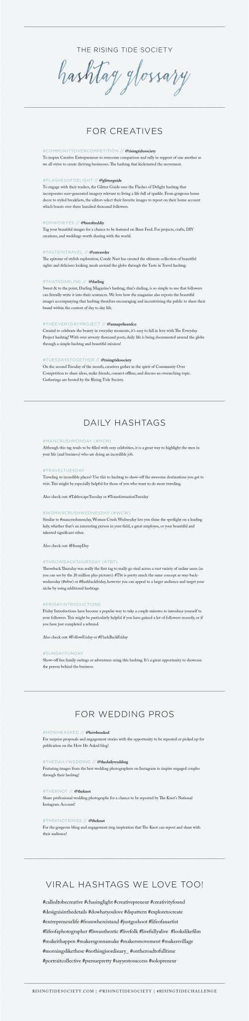 Hashtag Glossary for Creative Entrepreneurs - What hashtags will boost your Instagram strategy.