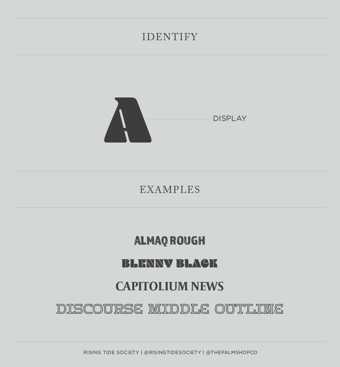 Display font guide by the Rising Tide Society