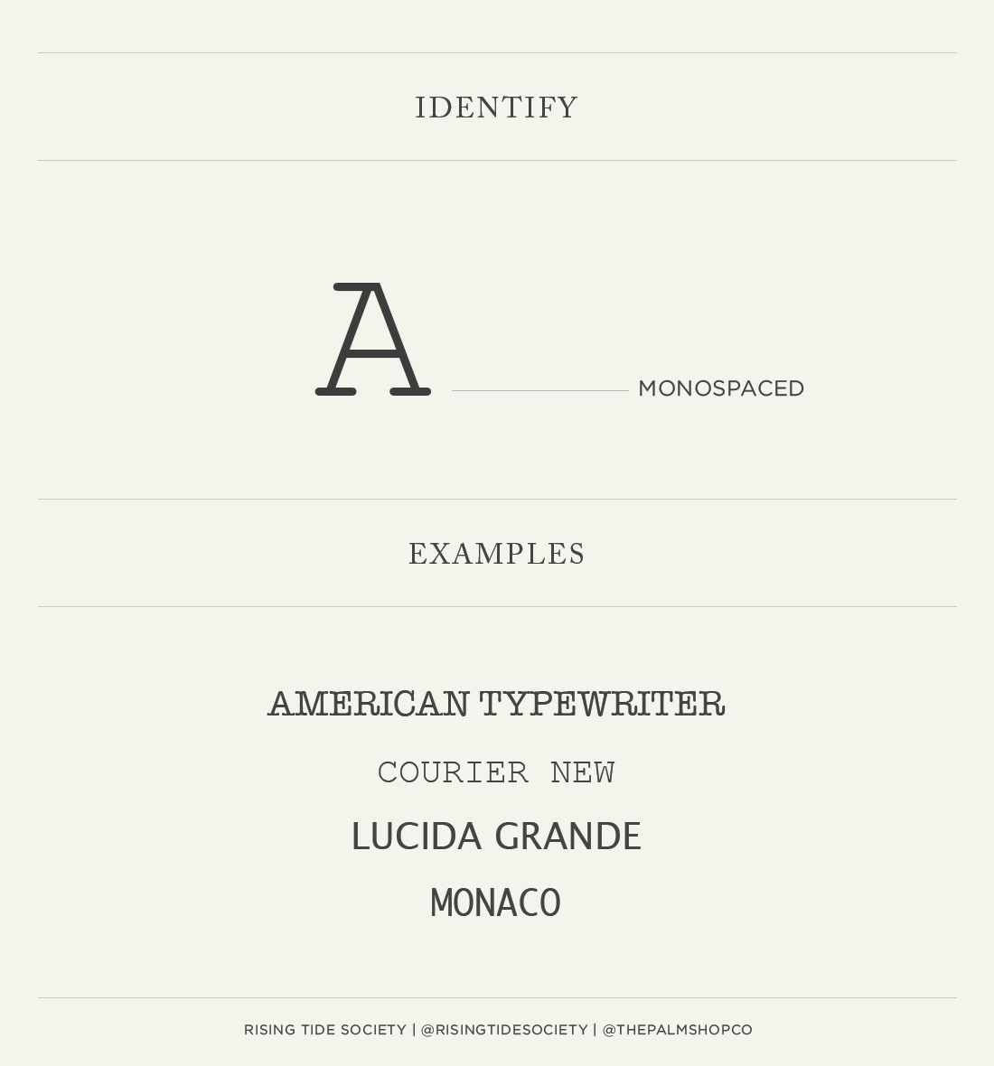 Monospaced font guide by The Rising Tide Society