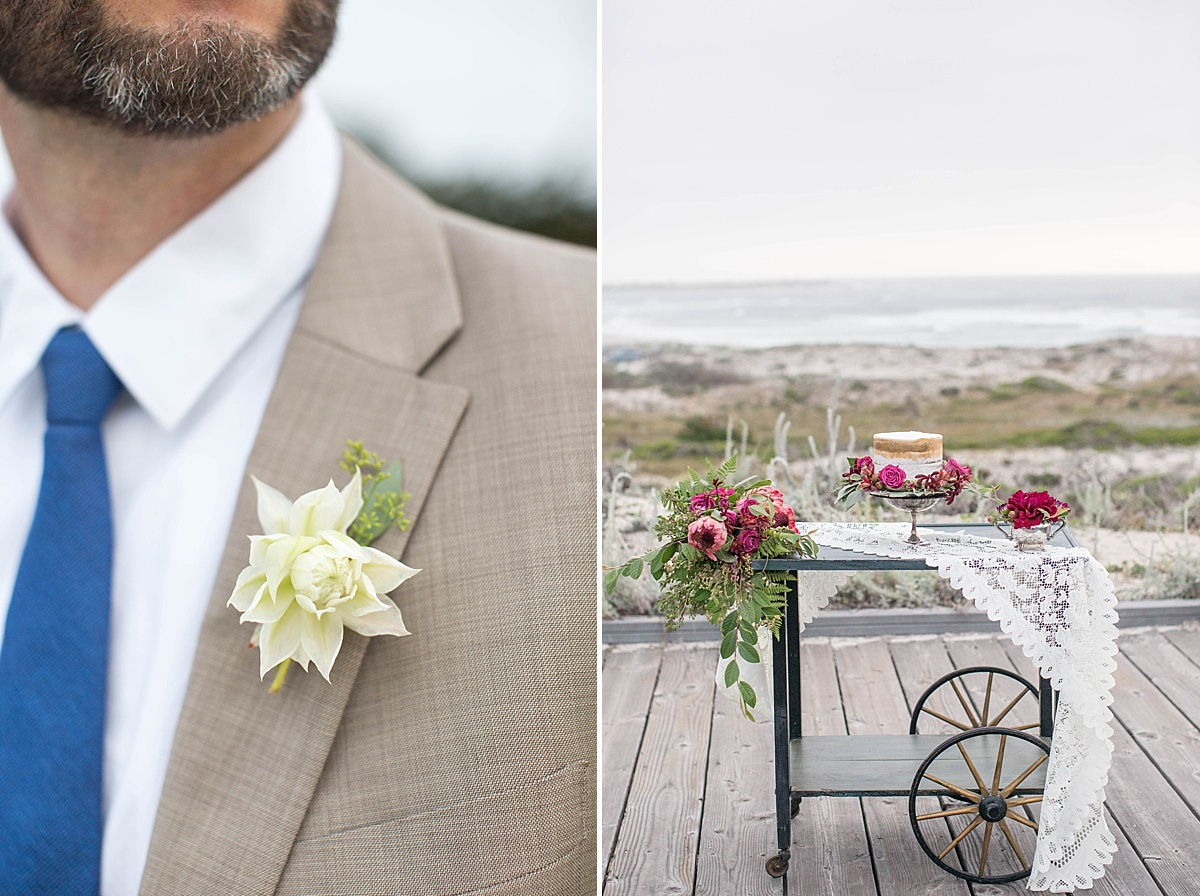Elegant and Beachy Styled Shoot by the Rising Tide Society Monterey, California, Chapter, dessert station & boutonniere