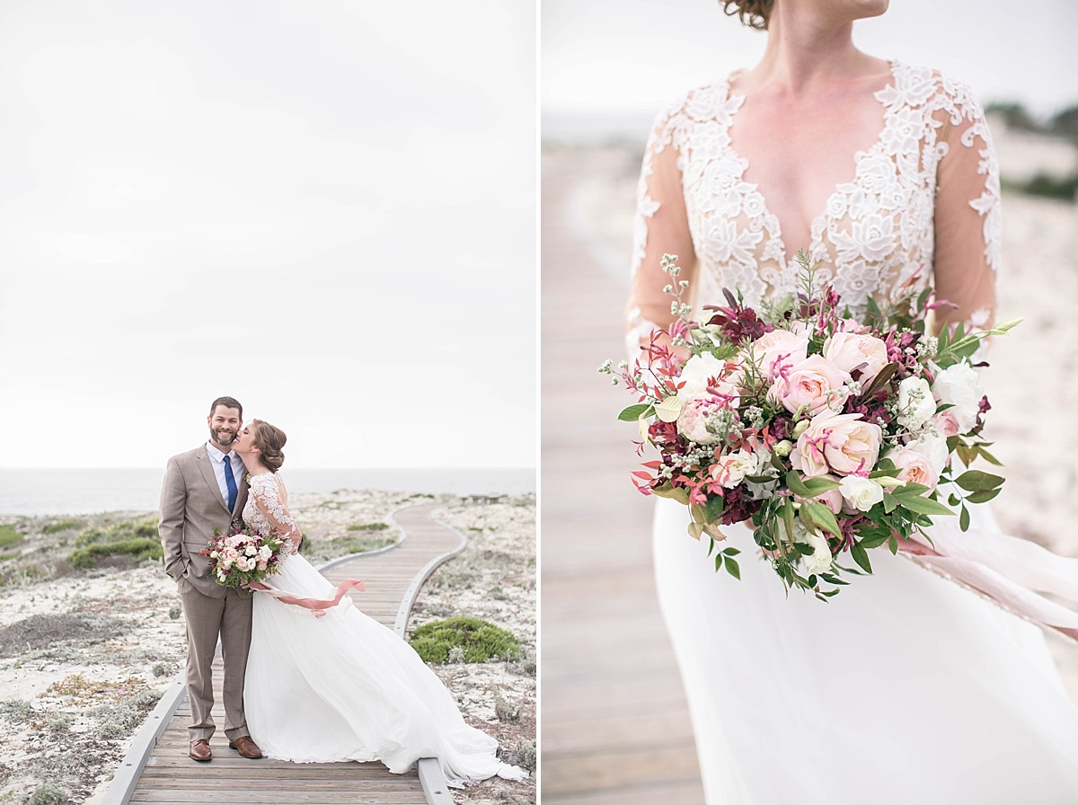 Bride and Groom.Wedding Bouquet. Elegant and Beachy Styled Shoot by the Rising Tide Society Monterey, California, Chapter