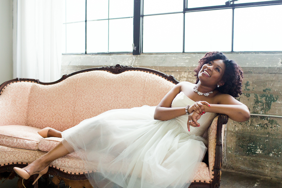 Houston Tuesdays Together (Rising Tide Society) Pantone Colors Styled Shoot, African American Bride, Colorful Bouquet, tea length Wedding Dress