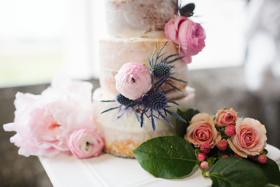Houston Tuesdays Together (Rising Tide Society) Pantone Colors Styled Shoot, Colorful Wedding Cake with pink roses and blue thistle