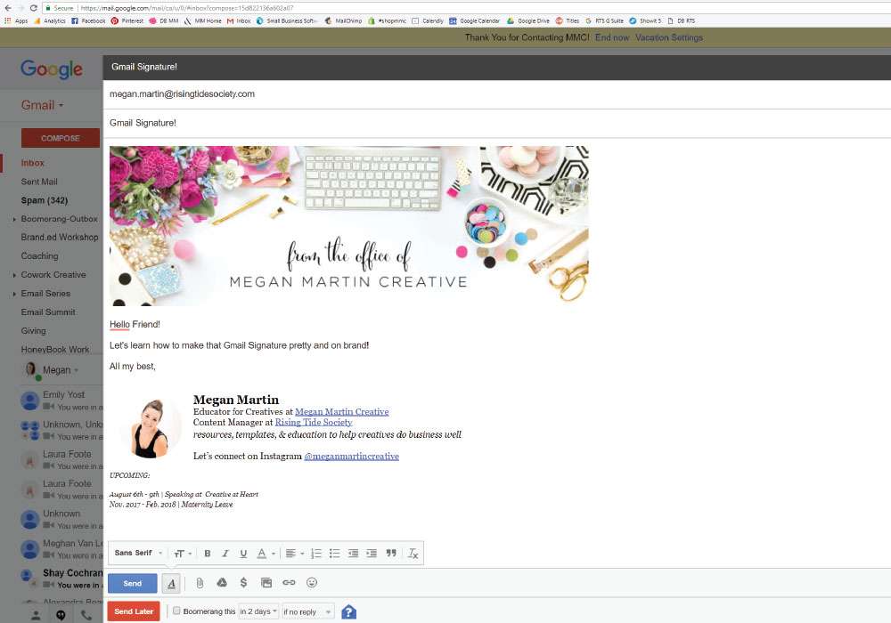 The creative entrepreneur's guide to make your Gmail Signature pretty and branded!